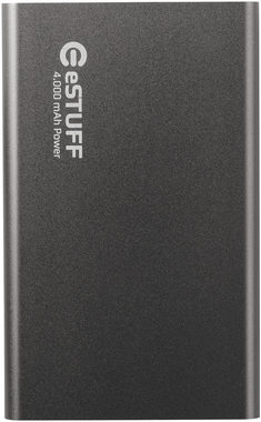 eSTUFF POWER BANK 4.000mAh / IN: 5V/0.8A / OUT:5V/0.5A / 30cm microUSB kabel / šedá