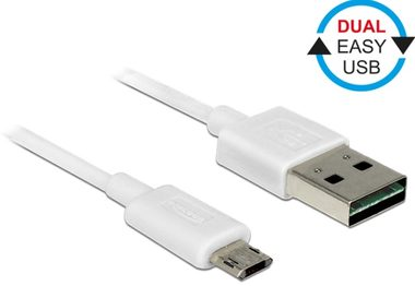 DeLock kabel EASY-USB 2.0 Type-A samec > EASY-USB 2.0 Type Micro-B samec / bílý / 2 m