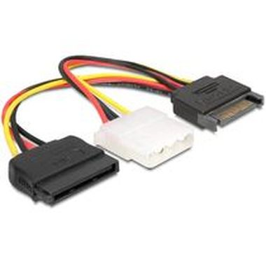 DeLock Power Adapter SATA 15-pin samec > Molex samice 4-pin + SATA 15-pin samice, 16.5cm