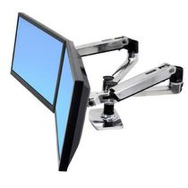 ERGOTRON LX SIDE BY SIDE DUAL ARM, Polished Aluminum, stojan stolní pro 2LCD max 24""