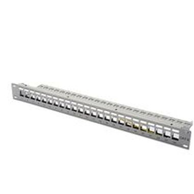 DIGITUS Patch Panel, Blank, 24 Port, Unit Heigth, with blanck panel, grey color 7035 Color grey RAL 7035