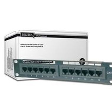 "DIGITUS 10"" CAT 5e patch panel, shielded12-port RJ45, 8P8C, LSA, 1U Color black RAL 9005"