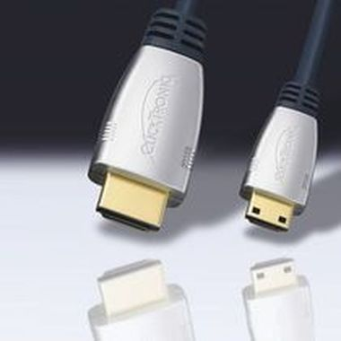 ClickTronic HQ kabel HDMI male <> mini HDMI male, zlacené, HDMI 1.3b, ferrity 2,5m